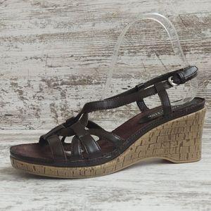 Aerosoles Brown Strappy Slingback Wedge Sandal